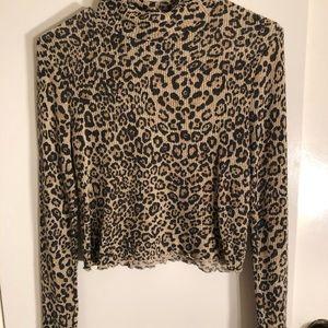 Leopard print turtleneck long sleeve